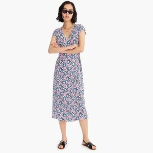 J Crew Floral Wrap Dress Midi Soft Pink Blue XXL
